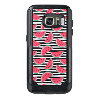 Sweet Watermelon on Stripes Black & White Pattern OtterBox Samsung Galaxy S7 Case