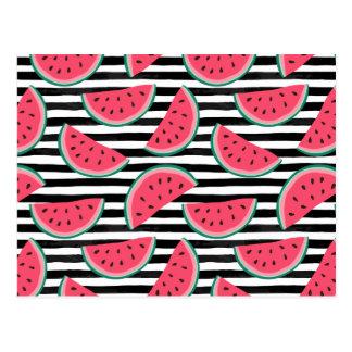 Sweet Watermelon on Stripes Black & White Pattern Postcard