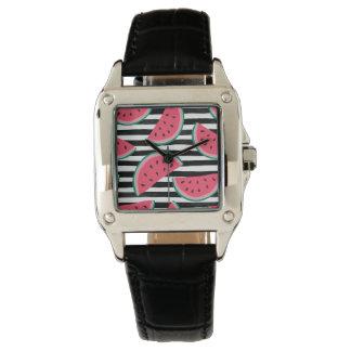 Sweet Watermelon on Stripes Black & White Pattern Watch