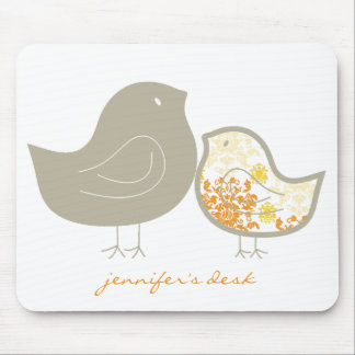 Sweet Whimsical Cute Yellow Damask Chicks Mousepad