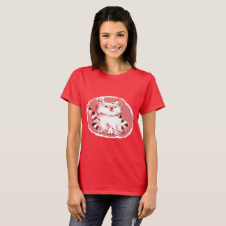 sweet white cat sitting cartoon style illustration T-Shirt