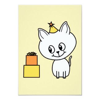 Sweet White Kitten Wearing a Birthday Hat. Custom Invites