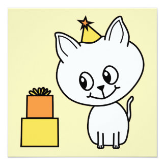 "Sweet White Kitten Wearing a Birthday Hat. 5.25"" Square Invitation Card"