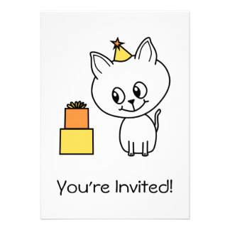 Sweet White Kitten Wearing a Birthday Hat. Personalized Announcement