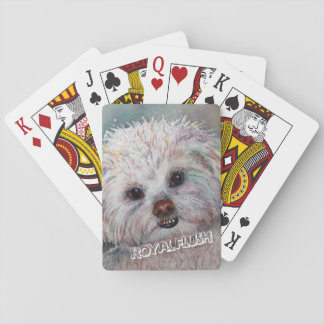 SWEET WHITE MALTESE YORKIE MIX PLAYING CARDS