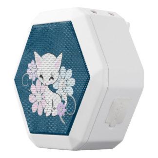 Sweet White Pastel Kitten With Flowers White Boombot Rex Bluetooth Speaker