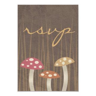 Sweet Wild Mushroom Wedding RSVP Reply Card 9 Cm X 13 Cm Invitation Card