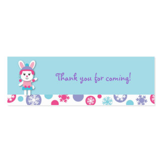 Sweet Winter Bunny Snowflake Favor Gift Tags Business Card Template