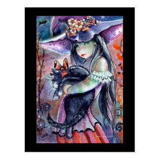 Sweet Witch & Kitty Postcard