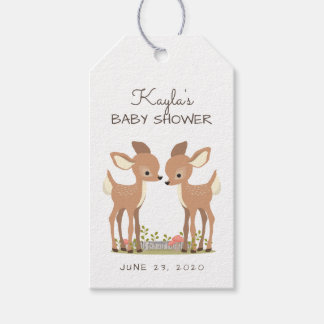 Sweet Woodland Deer Twin Baby Favor Gift Tags