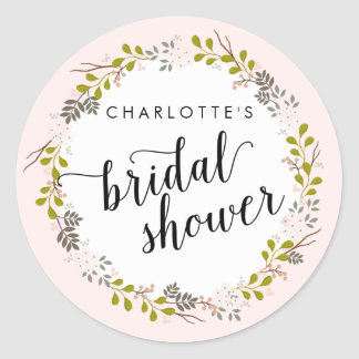 Sweet Woodland Floral Garden Bridal Shower Round Sticker