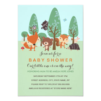 Sweet Woodland Friends Baby Shower Invite