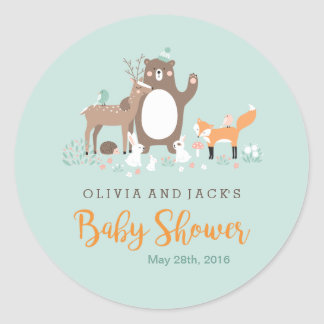Sweet woodland Mint and Orange Baby Shower Sticker