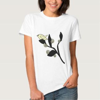 Sweet yellow bird, black branch with swirls shirt
