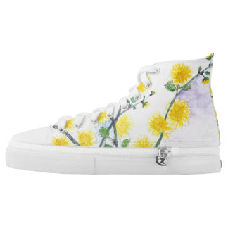Sweet Yellow Blossom Design High Tops