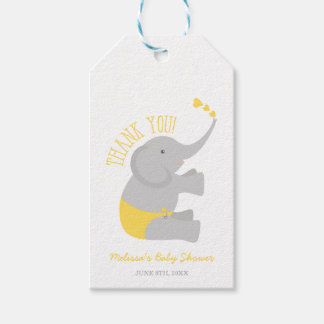 Sweet Yellow Gray Elephant Baby Shower