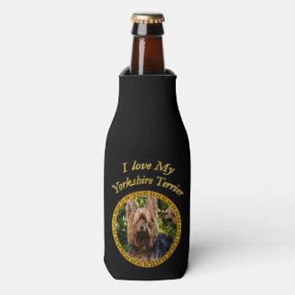 Sweet Yorkshire terrier small dog Bottle Cooler