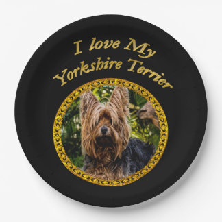 Sweet Yorkshire terrier small dog Paper Plate