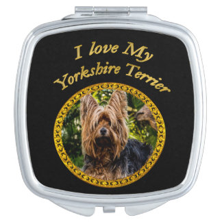 Sweet Yorkshire terrier small dog Travel Mirrors