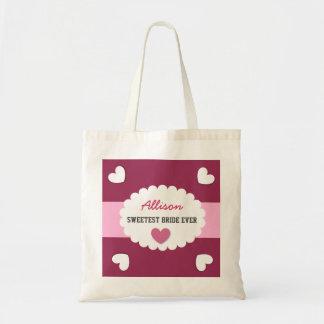 SWEETEST BRIDE EVER Wedding Favor Gift Hearts A06 Bag
