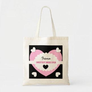 SWEETEST BRIDE EVER Wedding Favor Gift Hearts D02 Canvas Bag