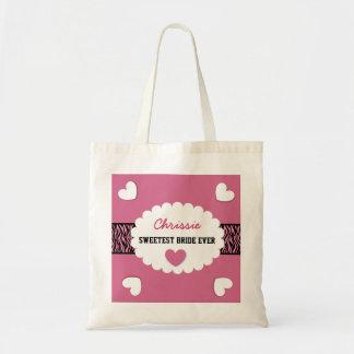 SWEETEST BRIDE EVER Wedding Favor Gift Hearts E01 Bag