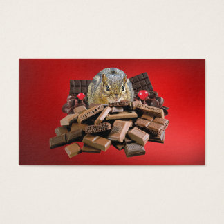 Sweetest Chocolate Chipmunk on Red Business Card