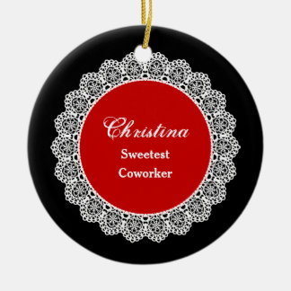 Sweetest COWORKER Ever White Round Lace P03 Round Ceramic Decoration