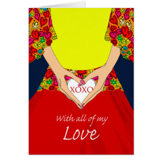 Sweetest Day, Woman Holding Heart with XOXO Card