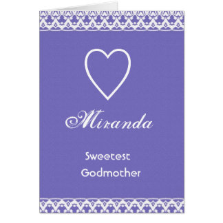 Sweetest Godmother Purple and White Greeting Card