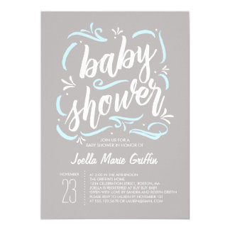 Sweetest Gray and Blue Baby Shower Invitation