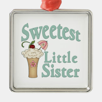 Sweetest Little Sister Malt Silver-Colored Square Decoration