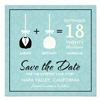 Sweetest Love Cakepop Modern Save the Date 13 Cm X 13 Cm Square Invitation Card