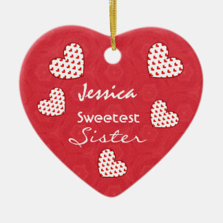 Sweetest SISTER Red Hearts V02 Christmas Tree Ornament