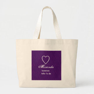 Sweetest Wife-To-Be Purple Zebra Print Gift Item Jumbo Tote Bag