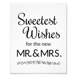 Sweetest Wishes New Mr and Mrs Wedding Sign Photo Print