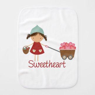 Sweetheart Cute Little Girl Trolley of Hearts Burp Cloth