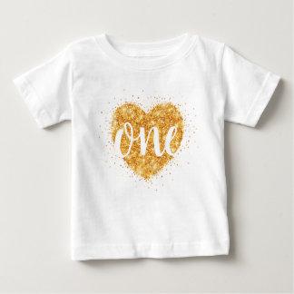 Sweetheart Gold Glitter Heart First Birthday Shirt