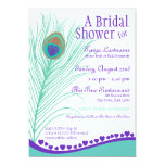 Sweetheart Peacock Feather Bridal Shower 13 Cm X 18 Cm Invitation Card