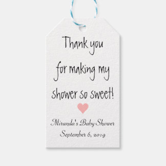 Sweetheart Pink Heart Baby Shower Gift Tags