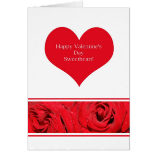 Sweetheart Red Heart Rose border Valentine´s Day Greeting Card