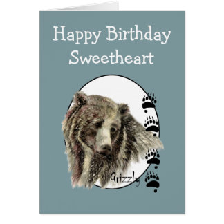Sweetheart Wild Thing Birthday Grizzly Bear Animal Card
