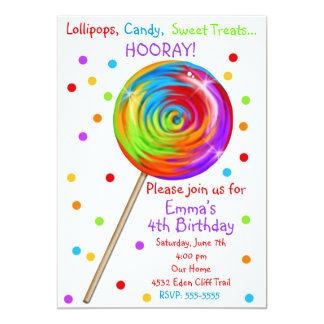 Sweetie Pop Lollipop Birthday Invitations