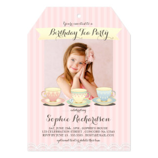 Sweetly Chic Birthday Tea Party Invitation