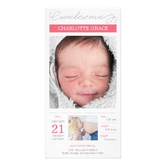 Sweetly Documented Baby Girl Birth Announcement Custom Photo Card