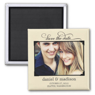 Sweetly Framed Save The Date Magnet - Tan