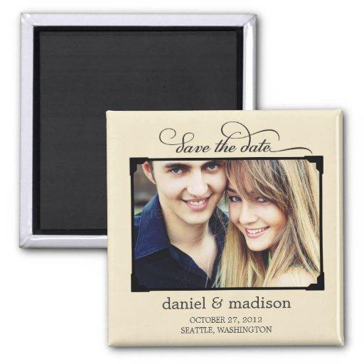 Sweetly Framed Save The Date Magnet - Tan Fridge Magnet