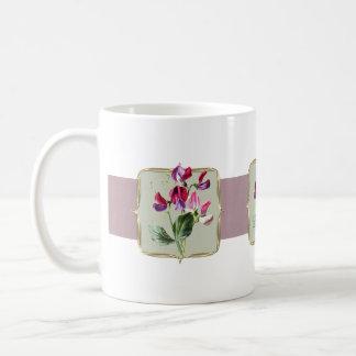 Sweetpea Vintage Flowers Wide Coffee Mug