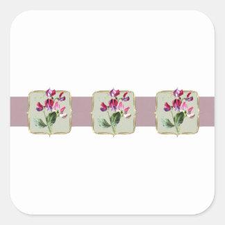 Sweetpea Vintage Flowers Wide Square Sticker