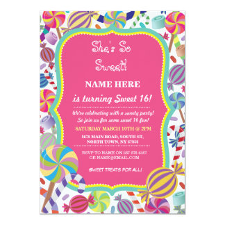 Sweety Dessert Candy Sweet 16 or any age Invite